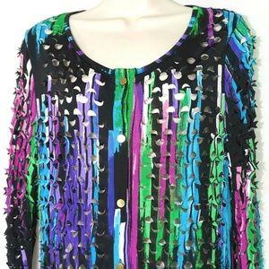 Radzoli Button Front Shirt Blouse Laser Cut Size M
